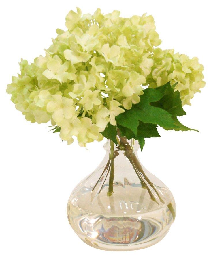 "7"" Snowball Spray in Vase, Faux"