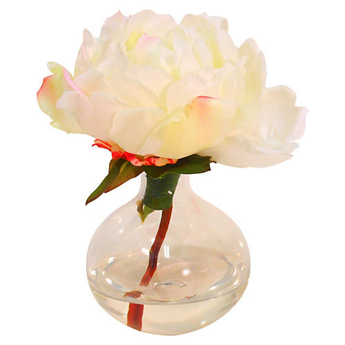 "7"" Peony in Glass Bubble Vase, Faux"