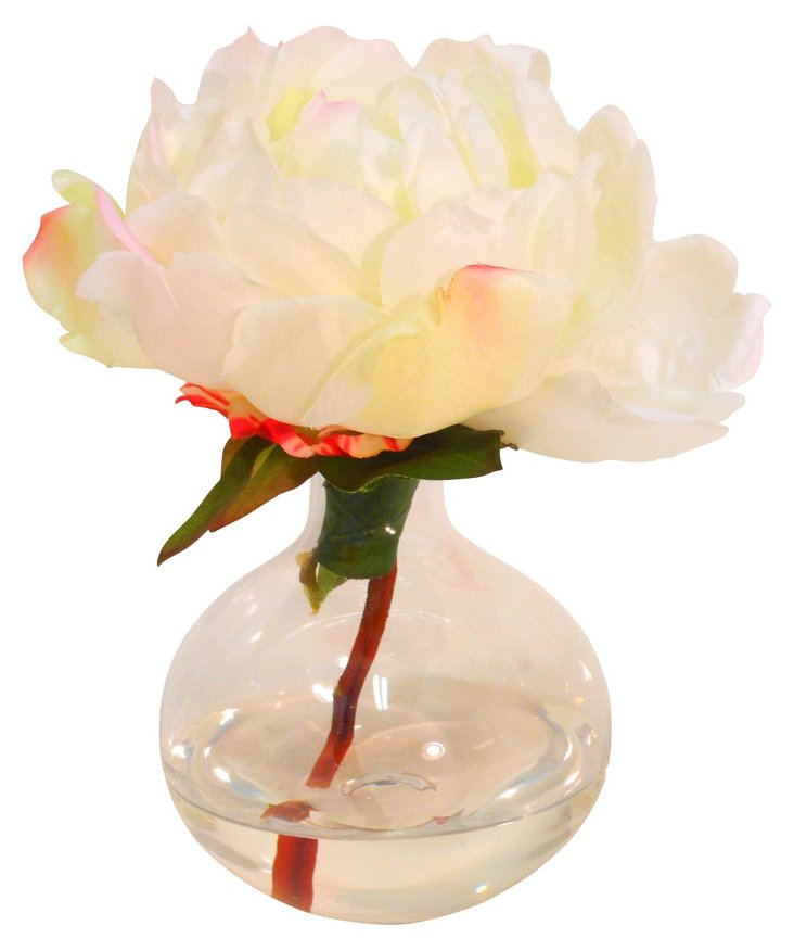 """7"""" Peony in Glass Bubble Vase, Faux"""