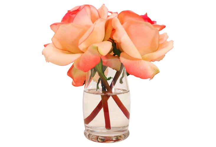 Roses in Hourglass Vase, Faux