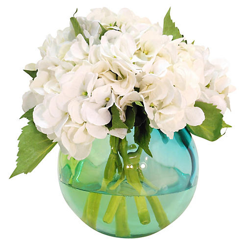 "12"" Hydrangea in Glass Bowl, Faux"