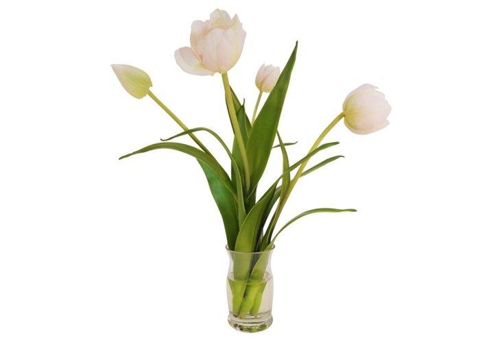 """12"""" Tulips in Hourglass Vase, Pink"""