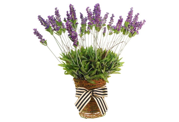 "22"" Lavender in Grass Basket, Faux"