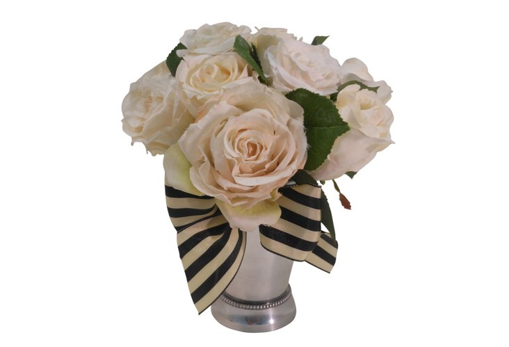 """7"""" Rose Bundle in Julep Cup, White"""
