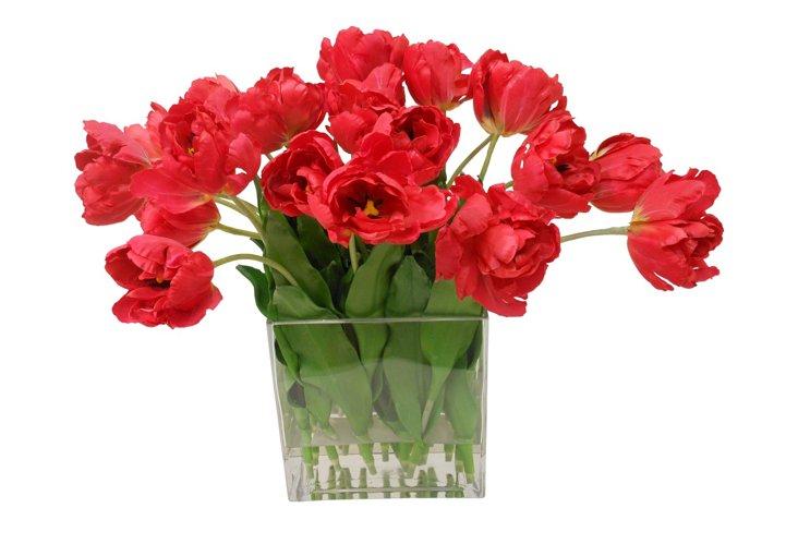 Fantasy Tulips in Square Vase, Red