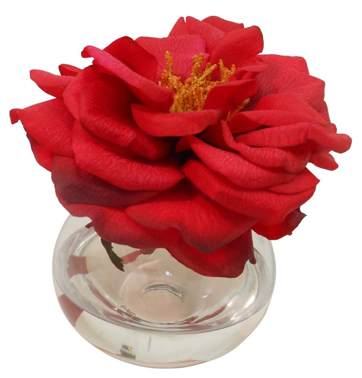 """5"""" Bloomed Rose in Bubble Vase, Faux"""