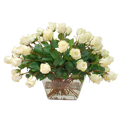 "27"" Rose Spray in Square Vase, Faux"