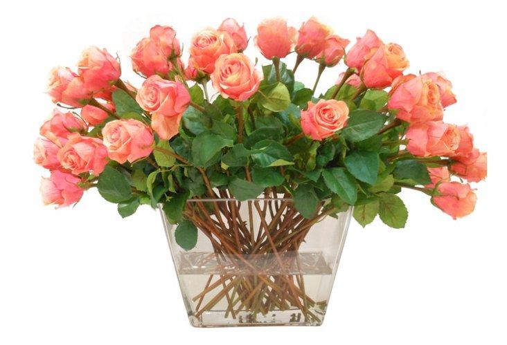 """20"""" Rose Spray in Square Vase, Orange"""