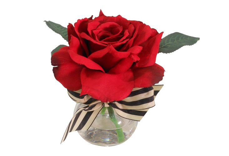 """7"""" Rose in Rim Neck Vase, Faux"""