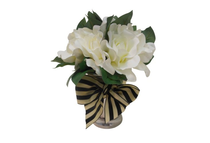 Gardenia Bouquet in Julep Cup, White