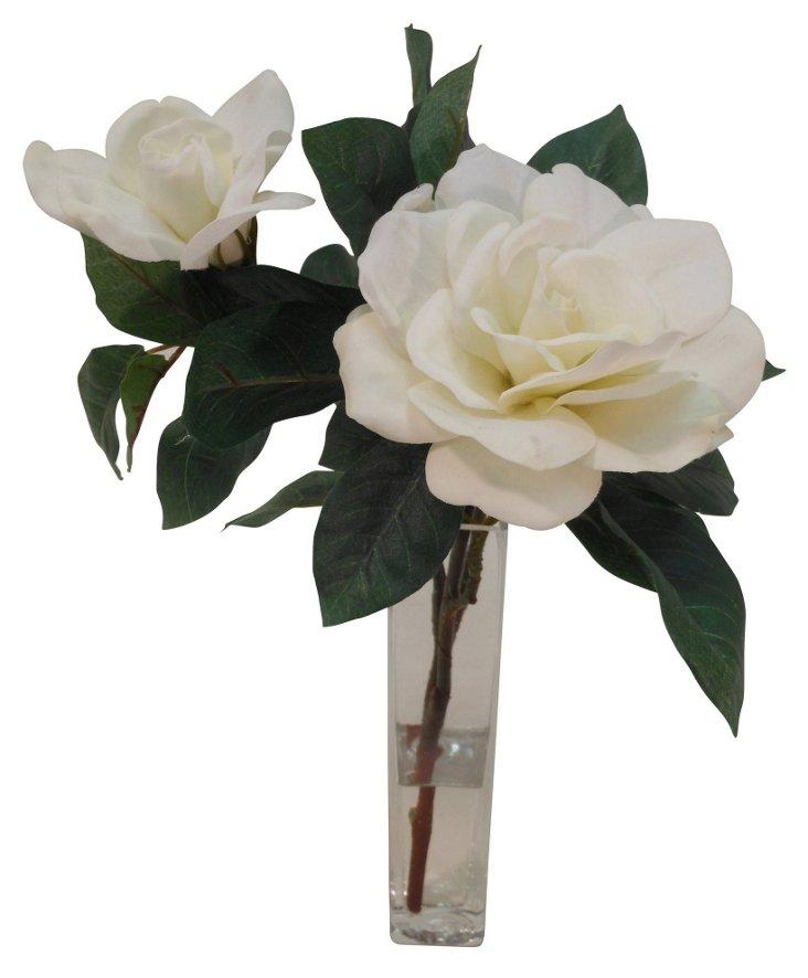 """14"""" Gardenia in Bud Vase, White"""