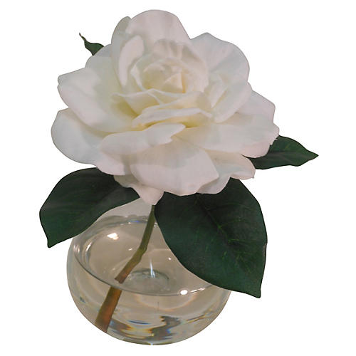 "8"" Gardenia in Bubble Vase, Faux"