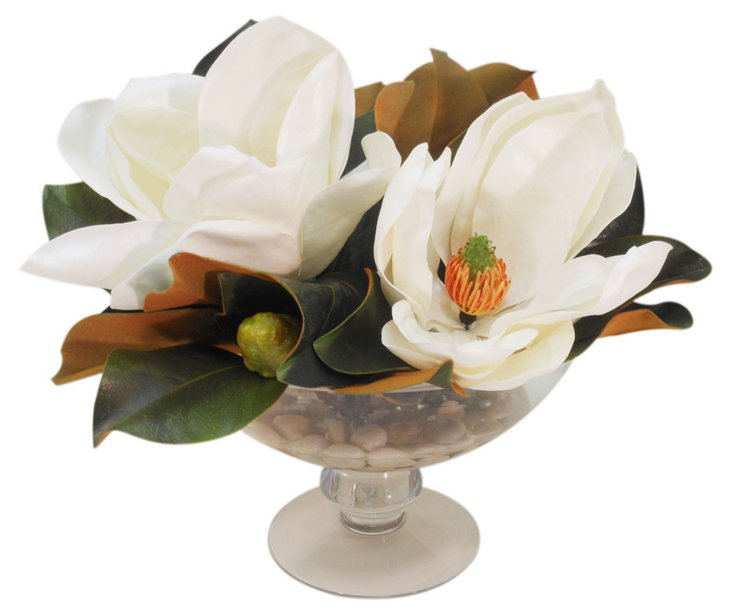 Magnolia in Footed Bowl, White