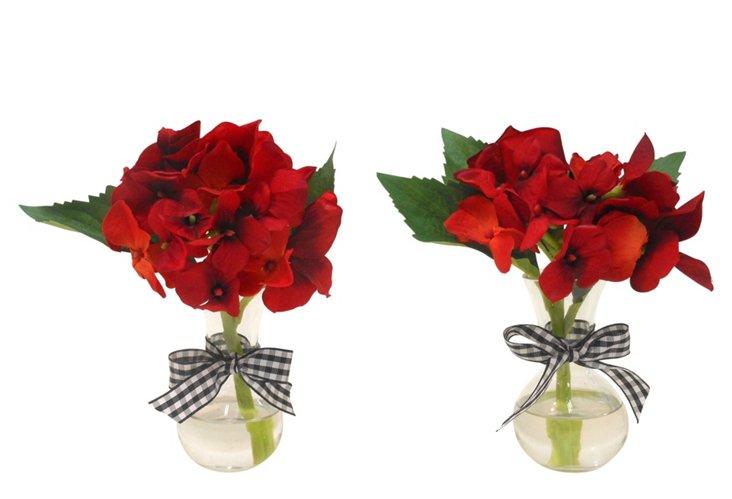 S/2 Hydrangea in Sweet Pea Vases, Red