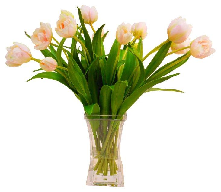"""20"""" Tulips in Square Vase, Faux"""