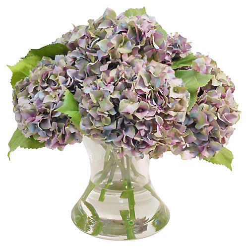 "15"" Hydrangeas in Flared Vase, Faux"