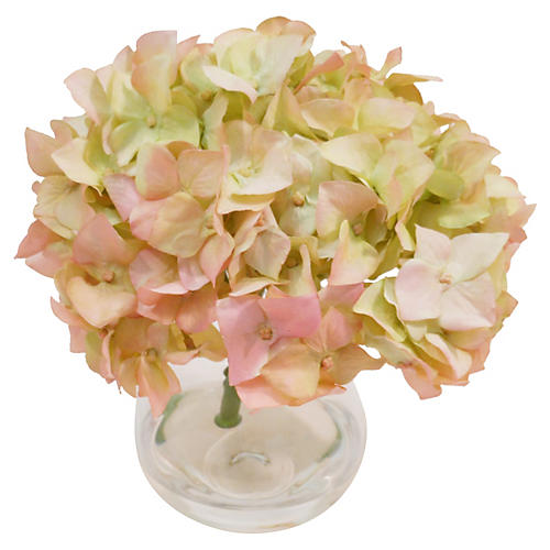 "7"" Hydrangeas in Bubble Vase, Faux"