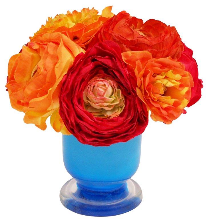 "8"" Ranunculus in Vase, Faux"