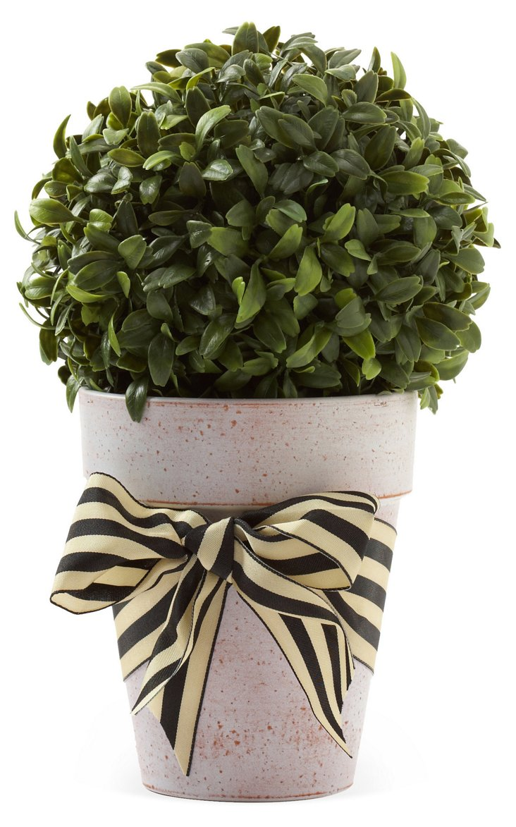 "10"" Boxwood Ball in Planter w/ Bow, Faux"