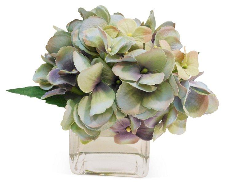 """6"""" Hydrangeas in Vase, Faux"""