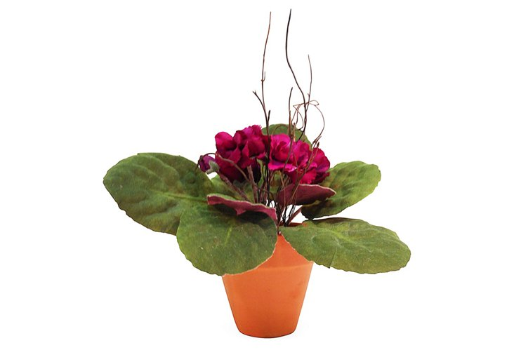 """8"""" African Violet in Planter, Faux"""