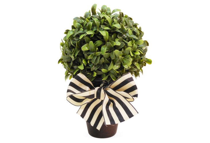 """9"""" Boxwood Ball in Planter w/ Bow, Faux"""
