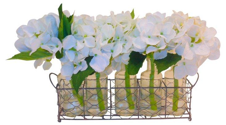 """15"""" Hydrangea in Bottles & Basket, Faux"""