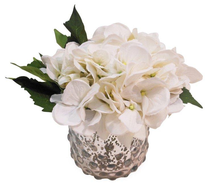 """9"""" Hydrangea in Mercury Vase, Faux"""