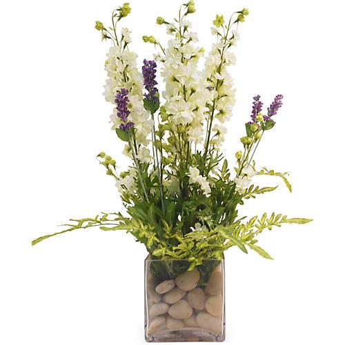 """21"""" Larkspur & Lavender in Vase, Faux"""
