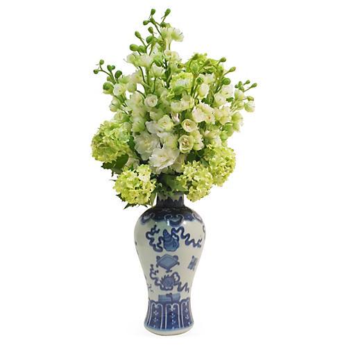 """22"""" Delphinium in Vase, Faux"""