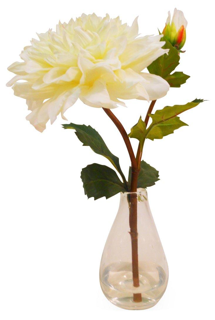 "15"" Dahlia in Bottleneck Vase, Faux"