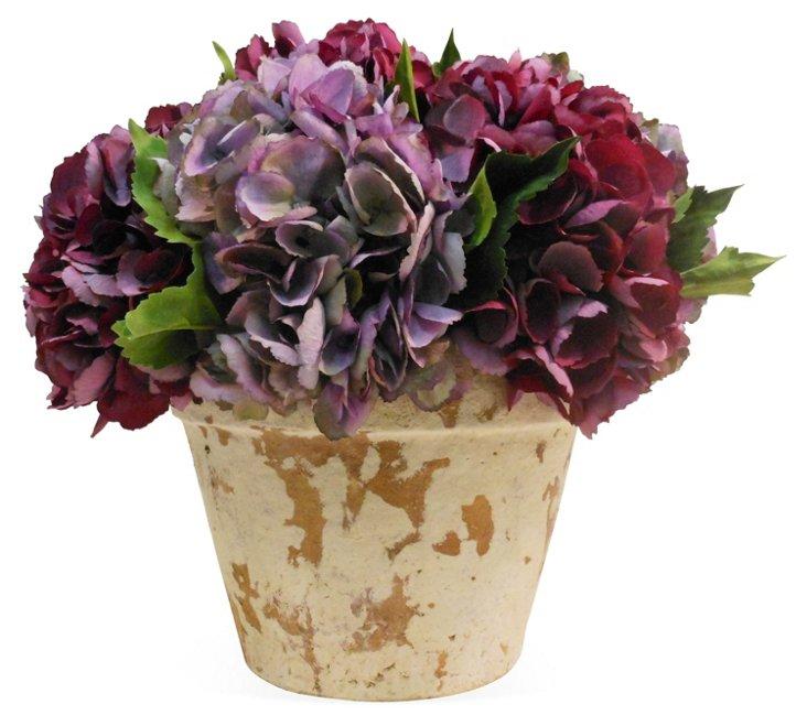 """15"""" Hydrangea in Planter, Faux"""