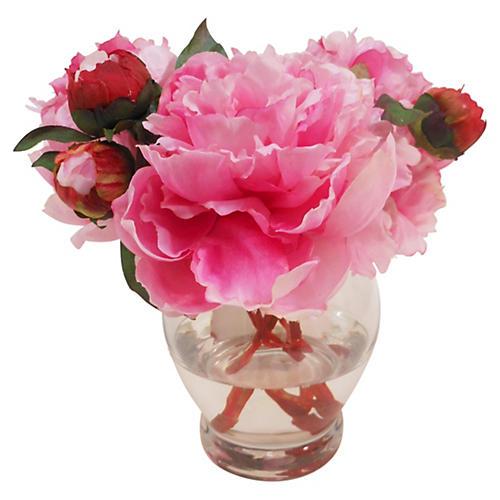 """10"""" Peony in Rose Bowl, Pink"""