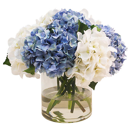 "17"" Hydrangea in Cylinder Vase, Faux"