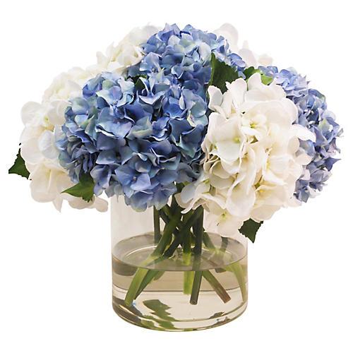 "17"" Hydrangea in Cylinder Vase, Faux"