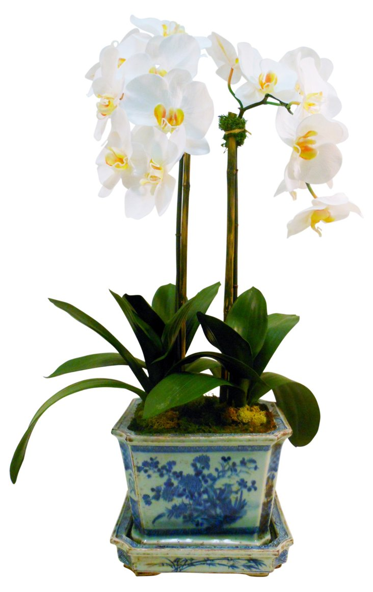 """28"""" Orchid in Planter, Faux"""