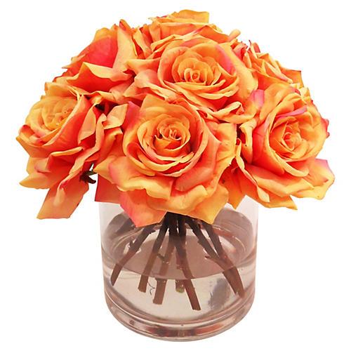 "12"" Roses in Vase, Faux"