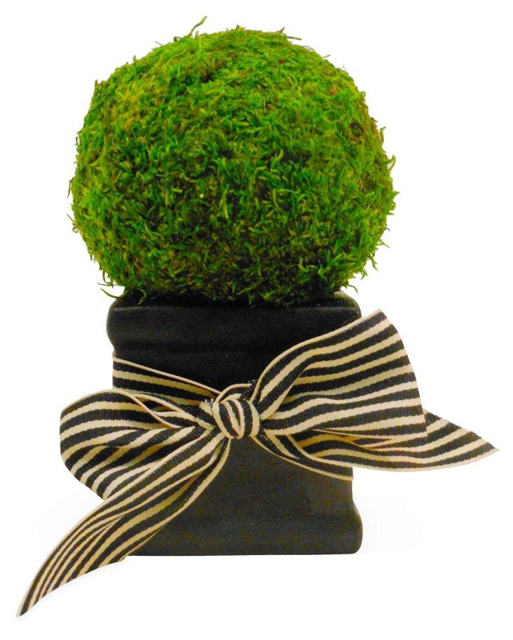 "7"" Moss Ball in Pot w/ Bow, Faux"
