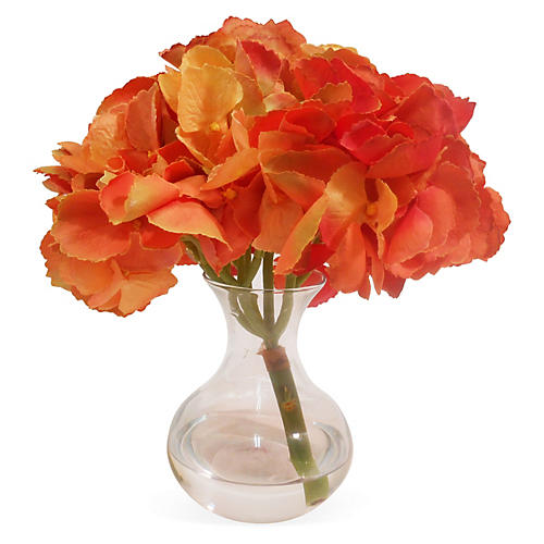 "9"" Hydrangea in Bubble Neck Vase, Orange"
