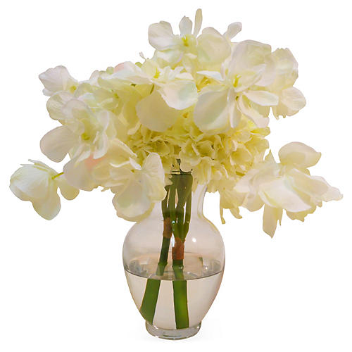 "11"" Hydrangea in Bubble Neck Vase, Faux"