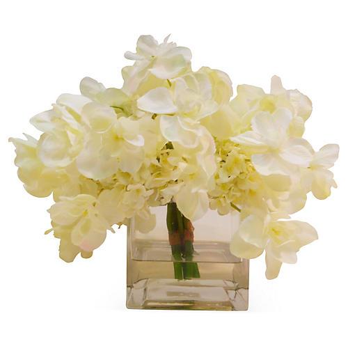 """12"""" Hydrangea in Cube Vase, Faux"""