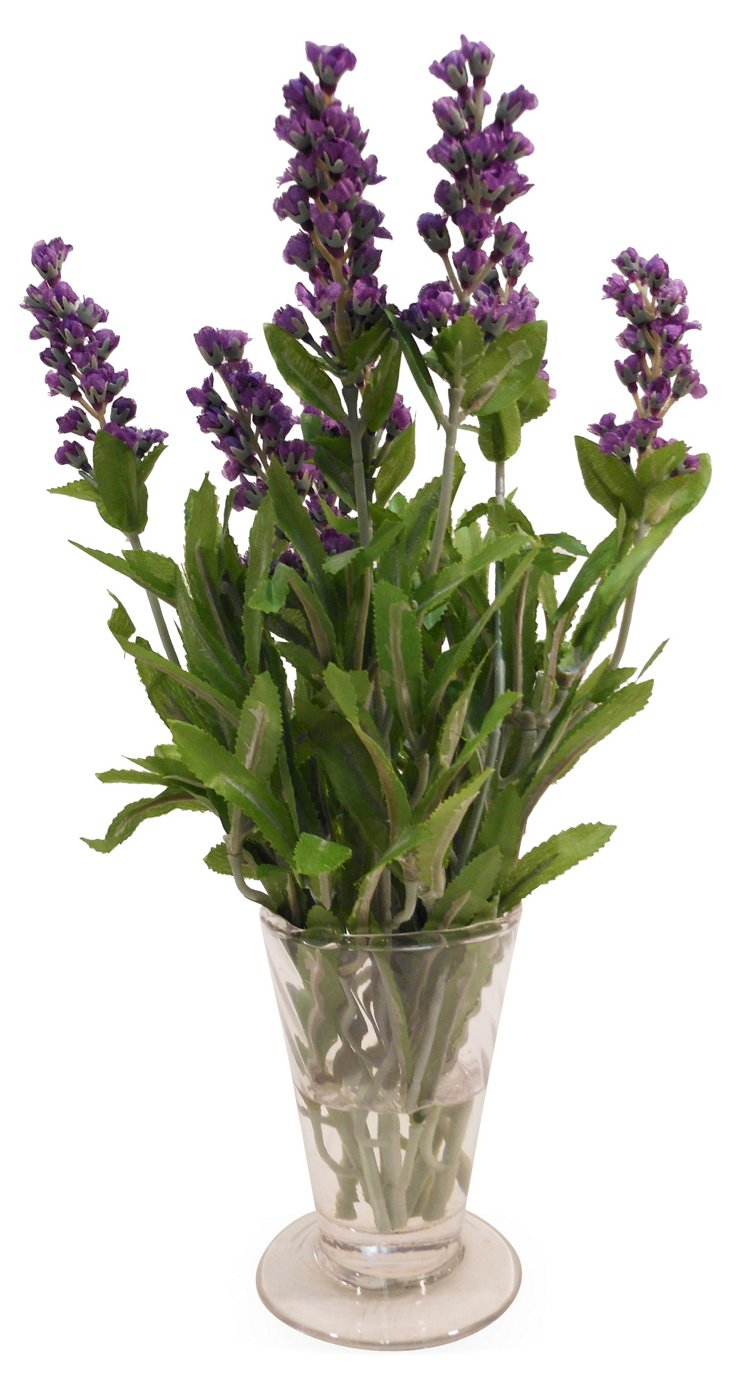 """12"""" Lavender in Parfait Glass, Faux"""