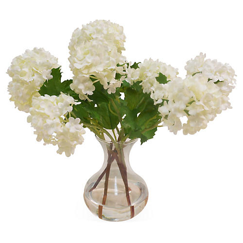 "12"" Snowball in Bubble-Neck Vase, Faux"
