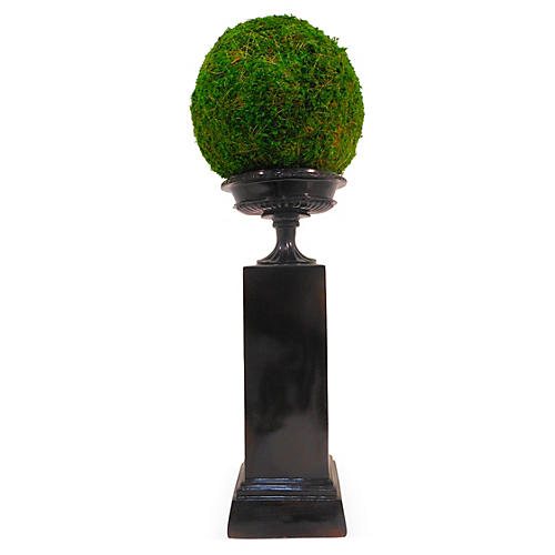 "8"" Moss Ball on Pedestal, Faux"