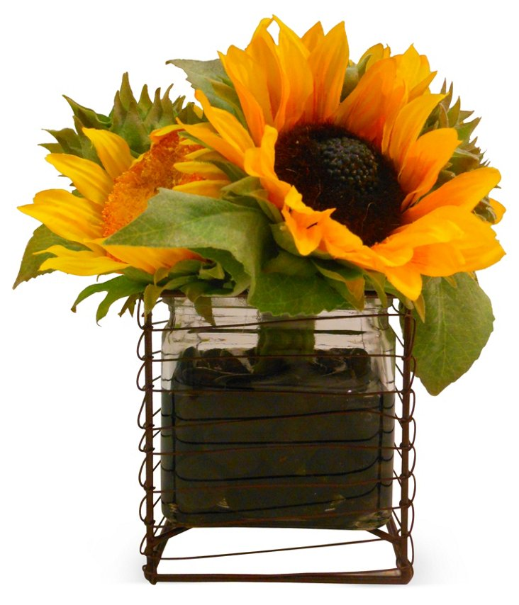 """9"""" Sunflowers in Wire Cube Vase, Faux"""