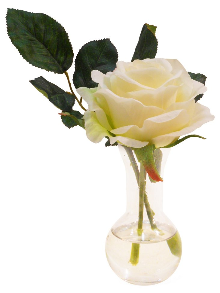 """7"""" Rose in Sweet Pea Vase, Faux"""