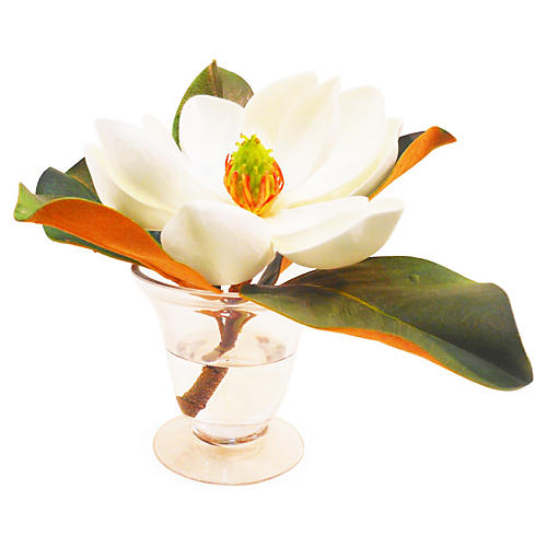 "8"" Magnolia in Flared Vase, Faux"