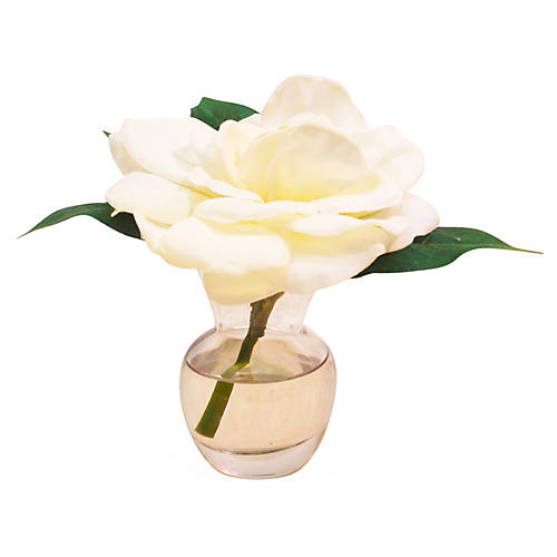 "5"" Gardenia in Bouquet Vase, Faux"