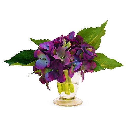 """7"""" Hydrangea in Flared Vase, Faux"""
