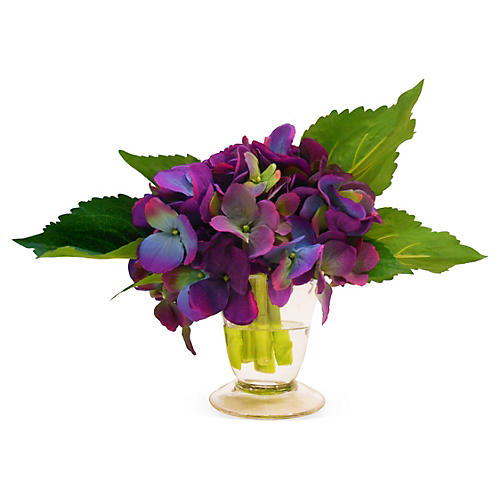 "7"" Hydrangea in Flared Vase, Faux"